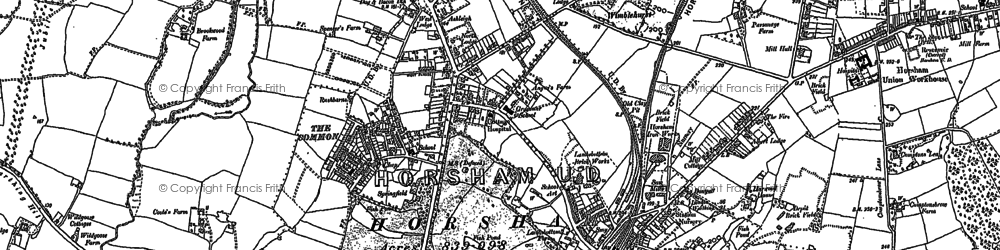 Old map of Horsham in 1896
