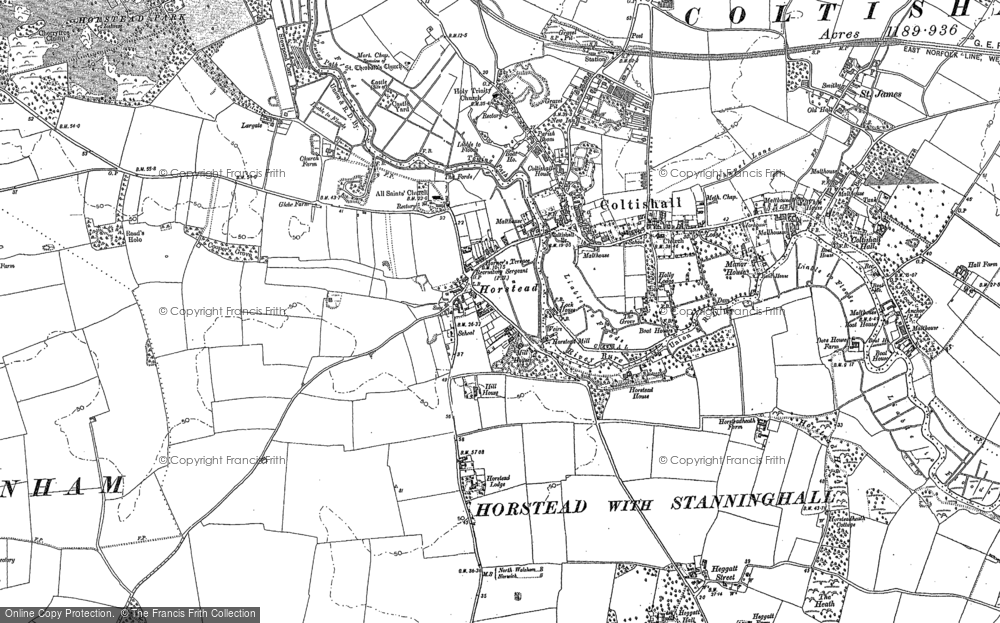 Old Map of Historic Map covering Largate in 1880