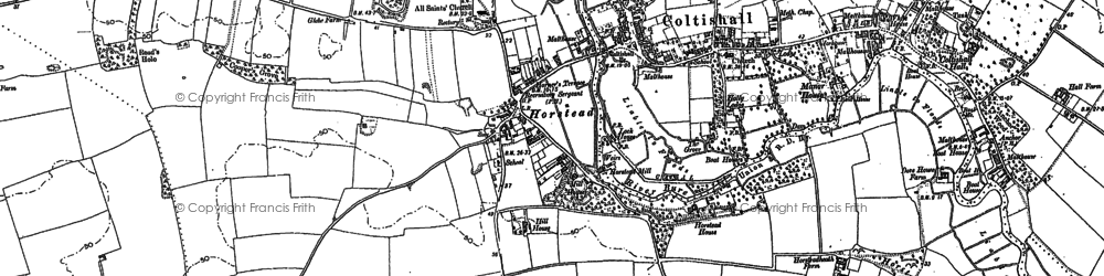 Old map of Horstead in 1880