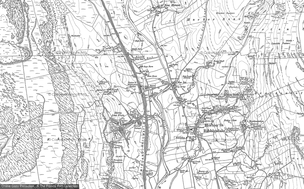 Old Map of Historic Map covering Larch Tree Hole in 1907