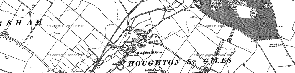 Old map of Houghton St Giles in 1885