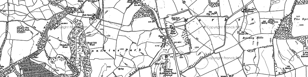 Old map of Fountains Abbey in 1890