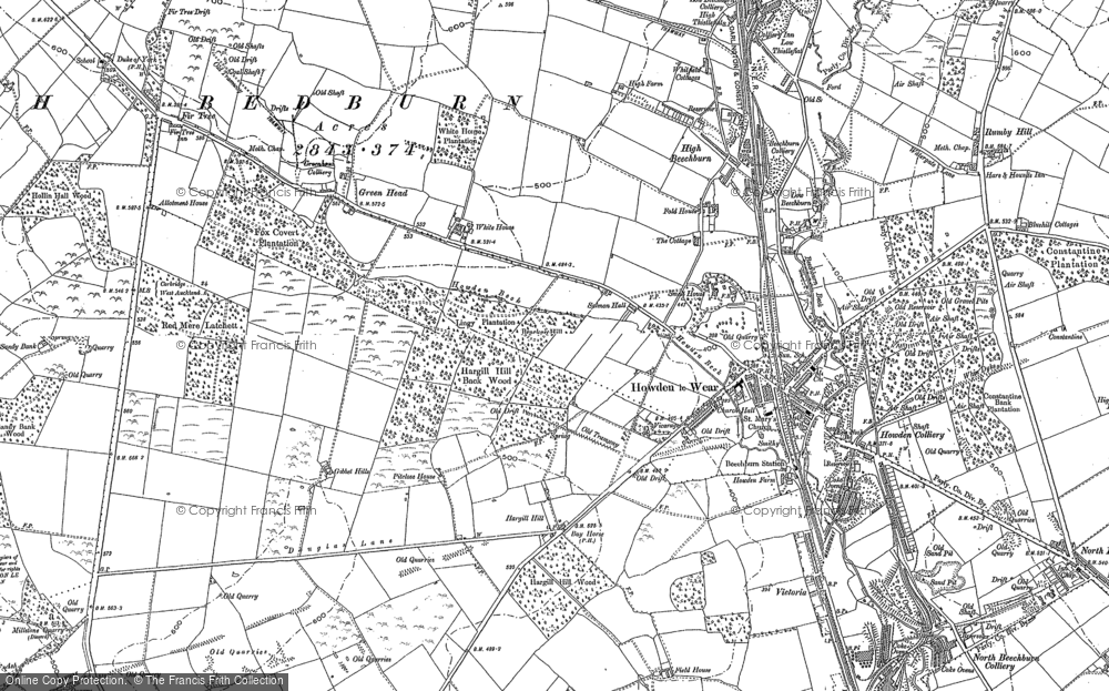 Old Map of Howden-le-Wear, 1896 in 1896