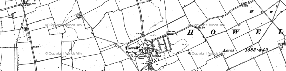 Old map of Winkhill in 1887