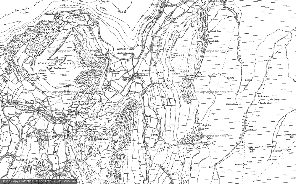 Old Map of Historic Map covering Arthur's Pike in 1897