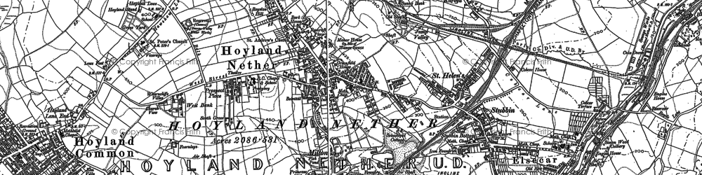 Old map of Hoyland in 1890