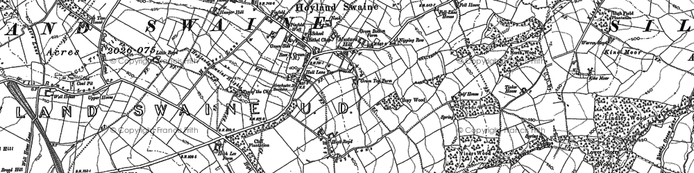 Old map of Hoylandswaine in 1891