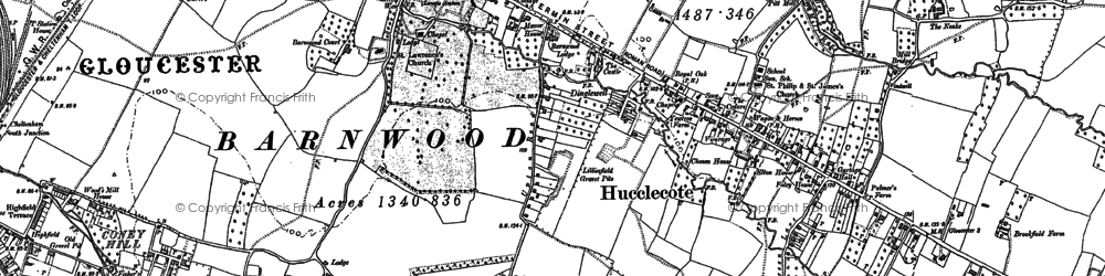 Old map of Hucclecote in 1883
