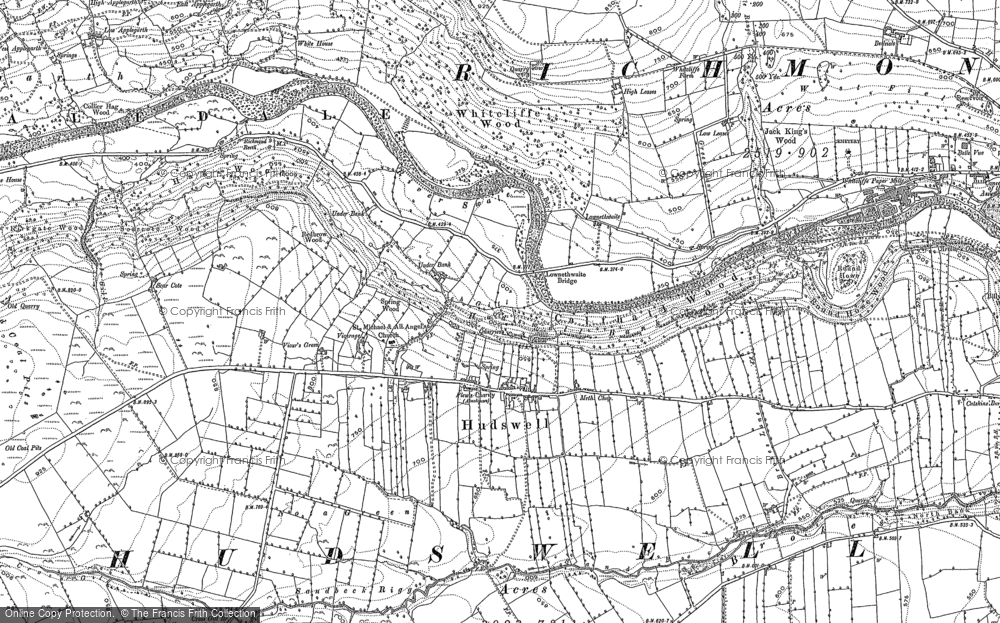 Old Map of Historic Map covering Badger Beck in 1891