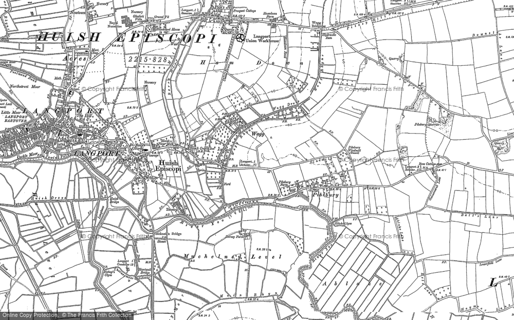 Old Map of Huish Episcopi, 1885 - 1886 in 1885