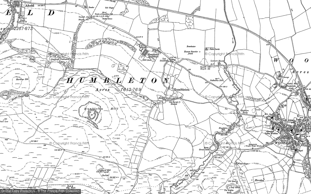 Old Map of Historic Map covering Wooler Common in 1896