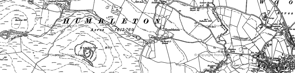 Old map of Wooler Common in 1896
