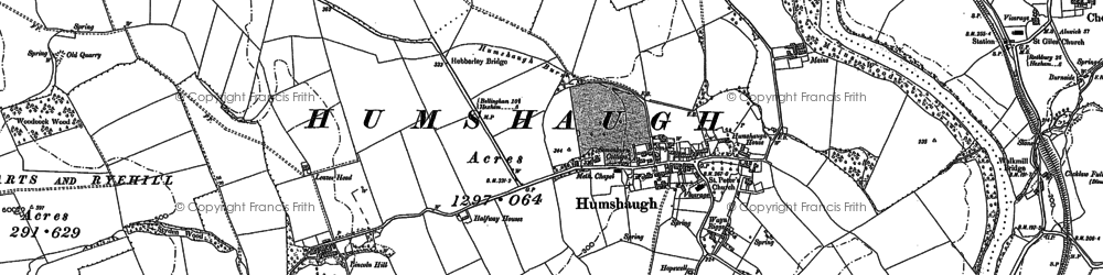 Old map of Leazes Head in 1895