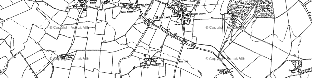 Old map of Babel Green in 1884