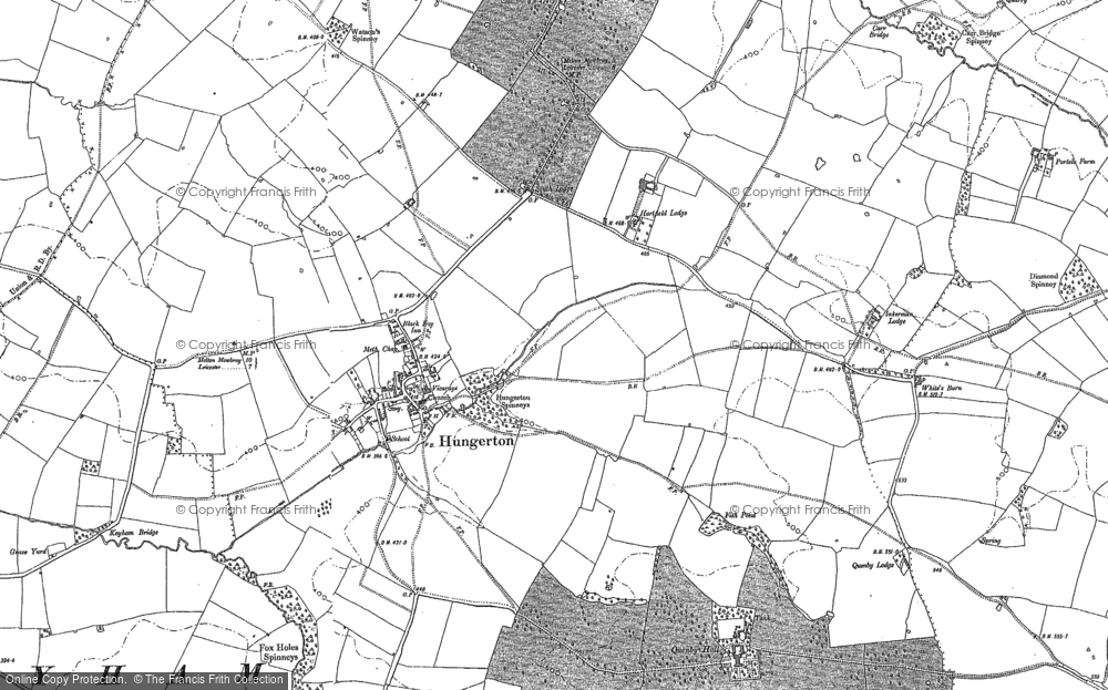 Old Map of Historic Map covering Baggrave Village in 1884
