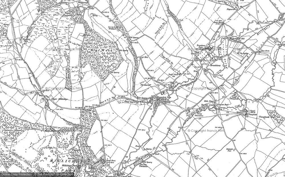 Old Map of Historic Map covering Balaam's Heath in 1882