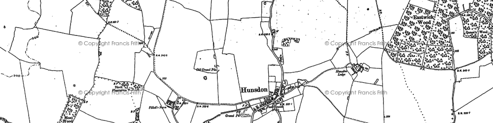 Old map of Hunsdon in 1916