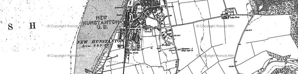 Old map of Hunstanton in 1904