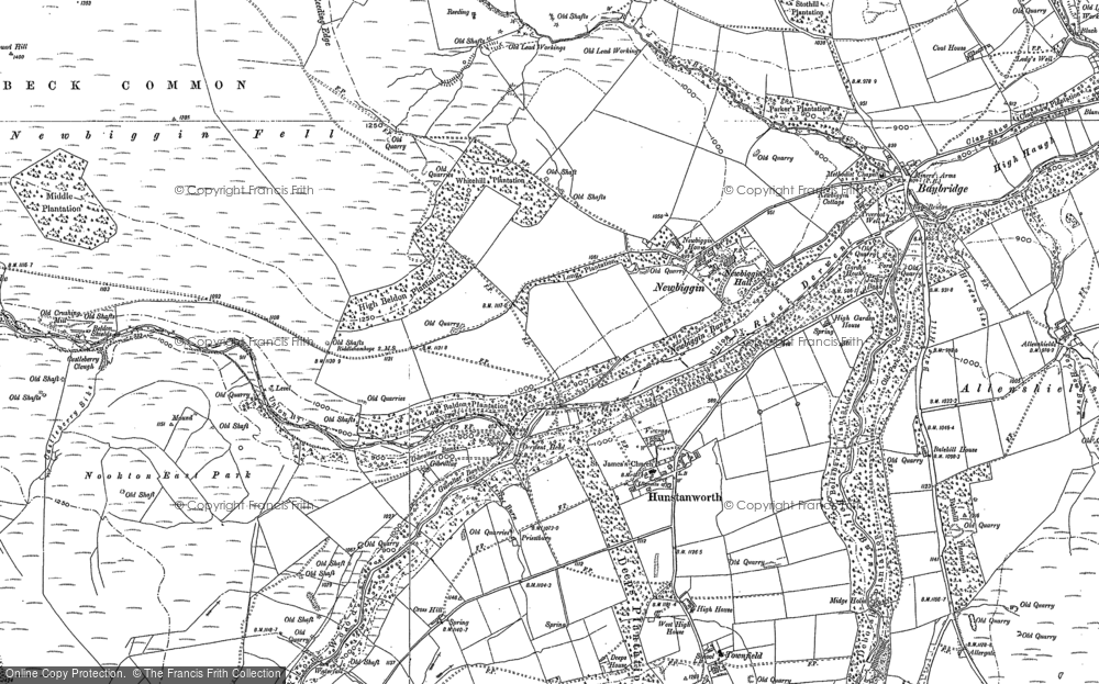 Old Map of Historic Map covering Balehill Ho in 1896