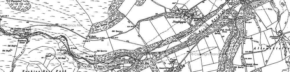 Old map of Hunstanworth in 1896