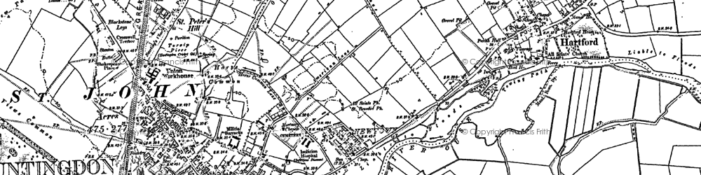 Old map of Huntingdon in 1887