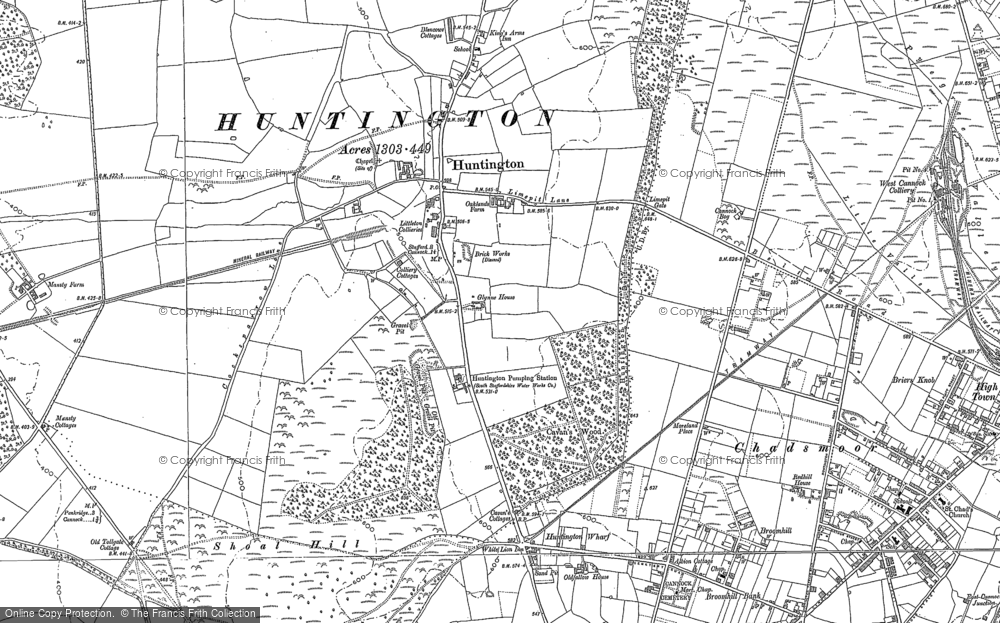Old Map of Historic Map covering Badger's Hills in 1882