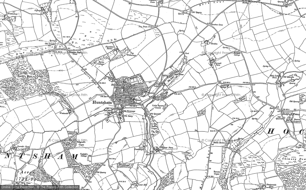 Old Map of Historic Map covering Bampton Down in 1887