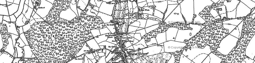 Old map of Hurst Green in 1908