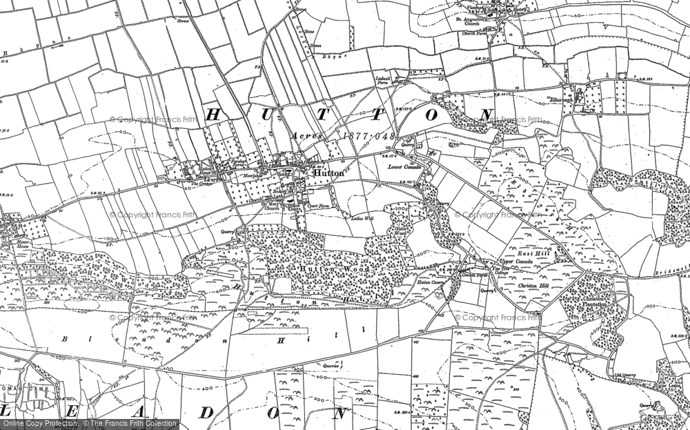 Old Map of Historic Map covering Airfield (disused) in 1884