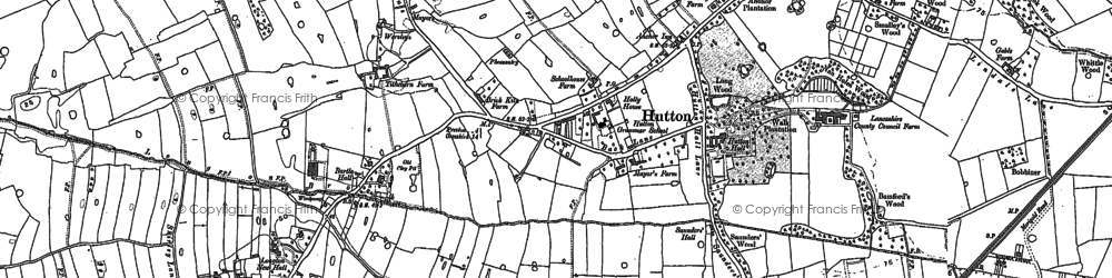 Old map of Bottom of Hutton in 1892