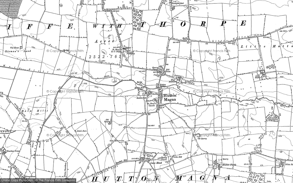 Old Map of Historic Map covering Lane Head in 1854