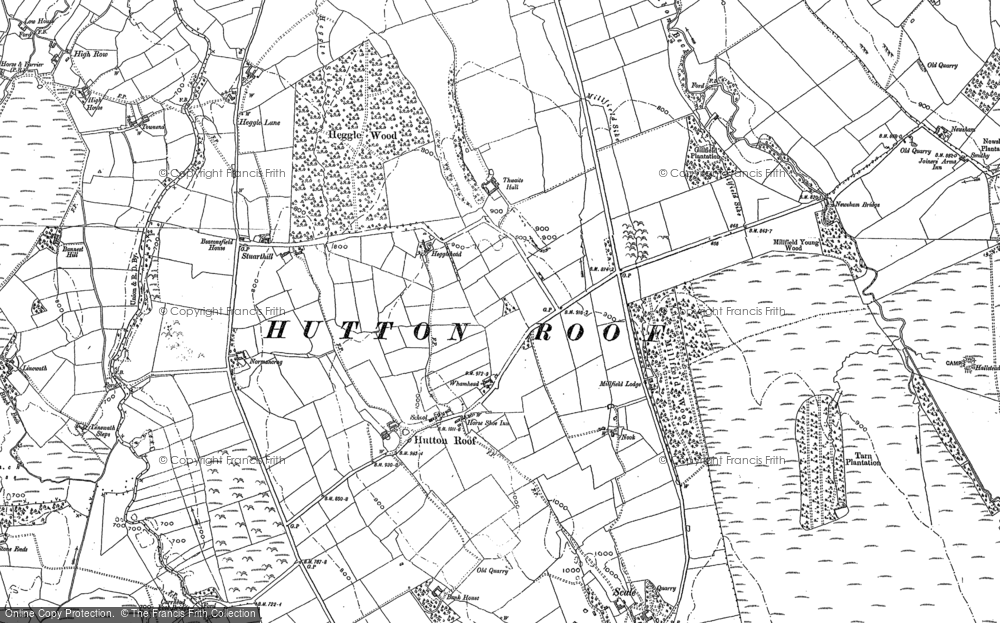 Old Map of Historic Map covering Thwaite Hall in 1899