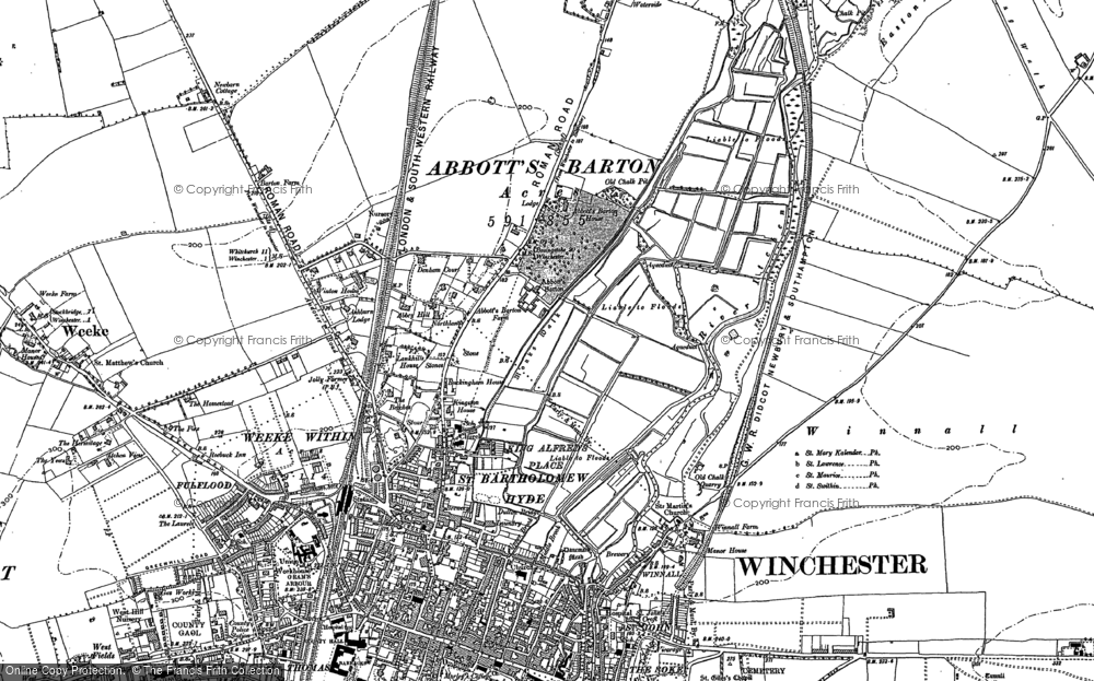 Old Map of Historic Map covering Abbotts Barton Ho in 1895