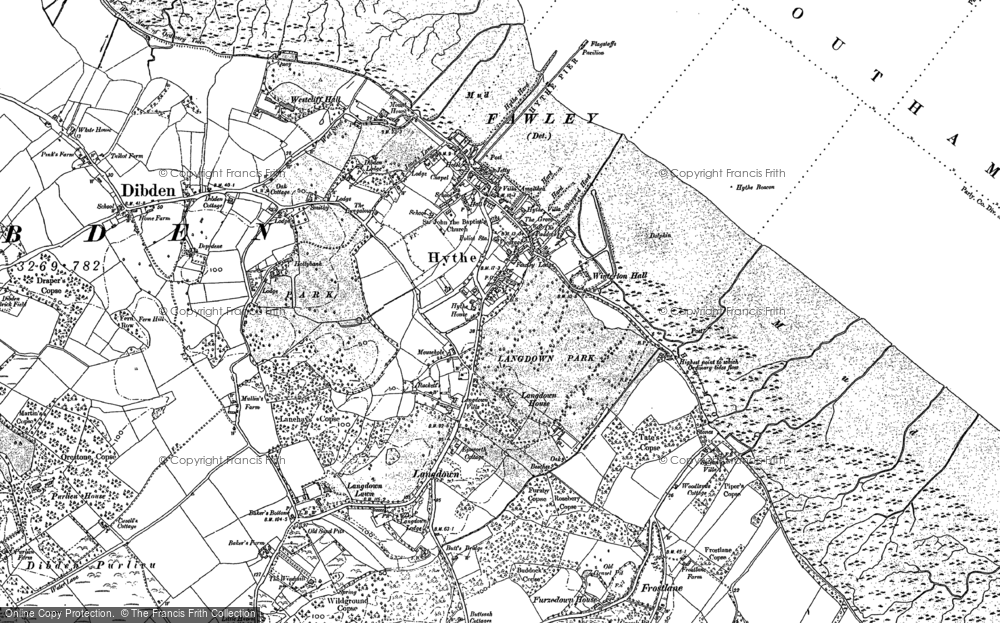 Old Map of Historic Map covering Langdown in 1895