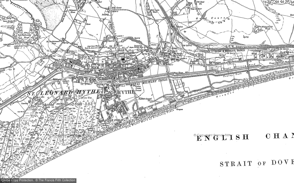 Old Map of Hythe, 1906 in 1906