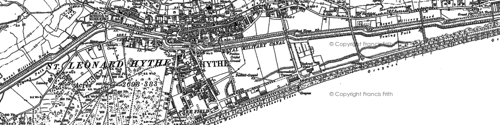 Old map of Hythe in 1906