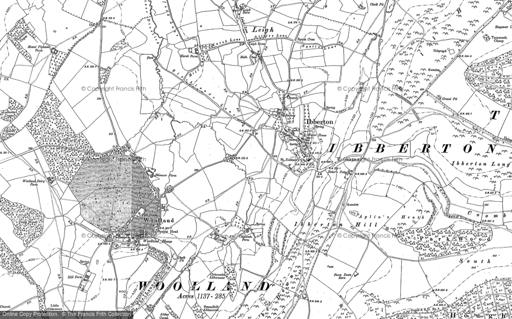 Old Map of Historic Map covering Leigh in 1886