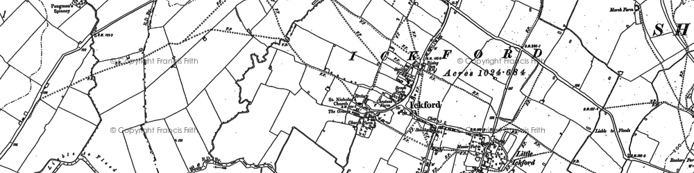 Old map of Ickford in 1919