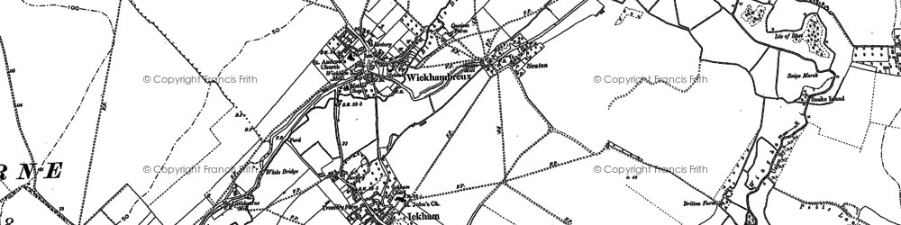 Old map of Ickham in 1896