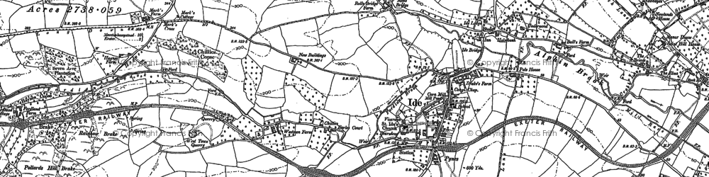Old map of Ide in 1886