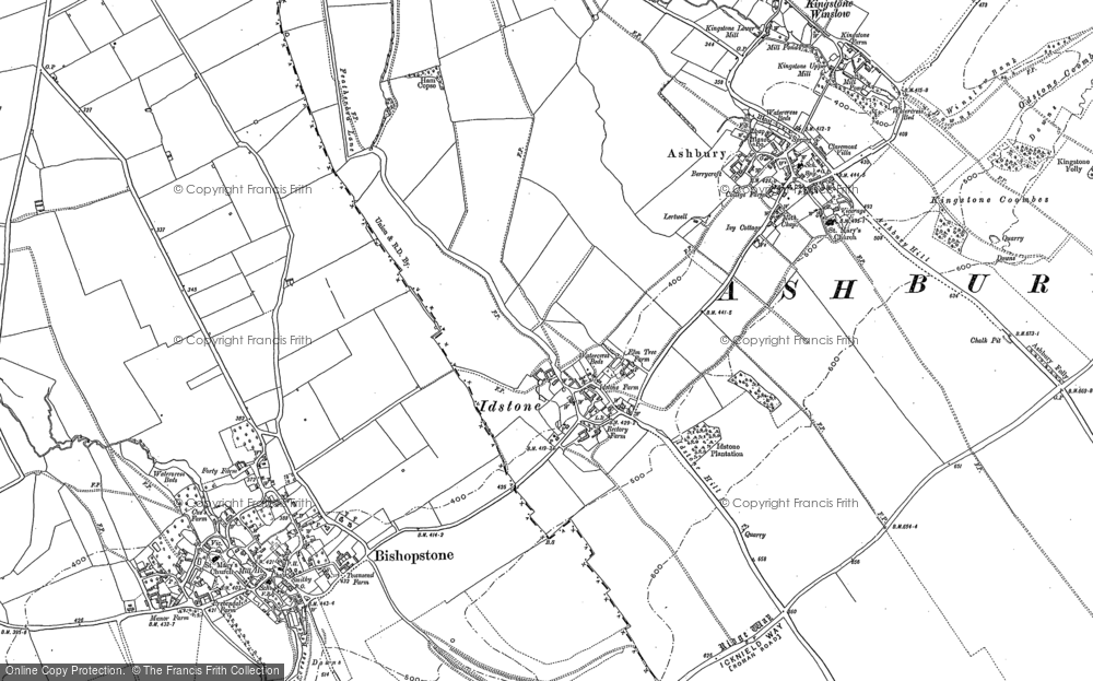 Old Map of Historic Map covering Alfred's Castle in 1910