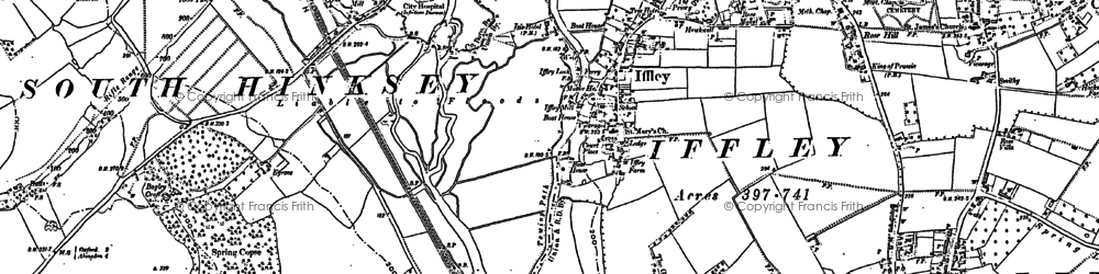 Old map of Iffley in 1910
