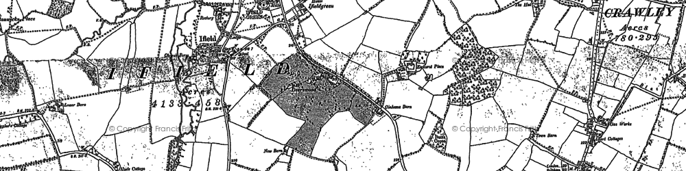 Old map of Ifield in 1909
