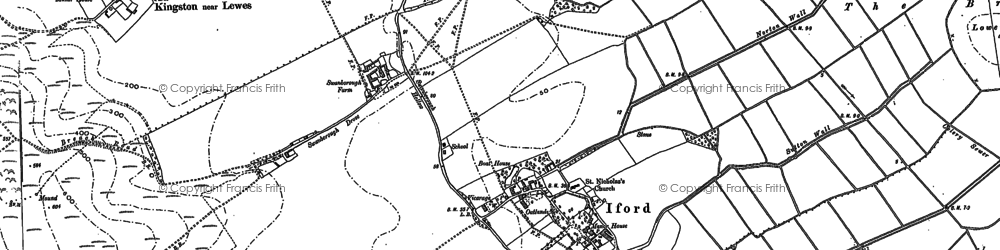 Old map of Iford in 1898