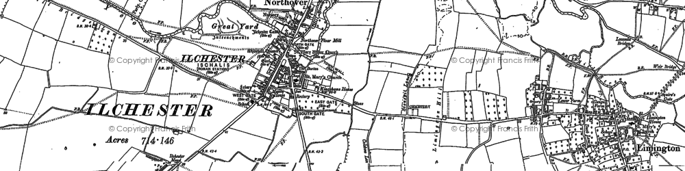 Old map of Ilchester in 1885