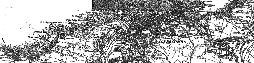 Old map of Ilfracombe in 1886