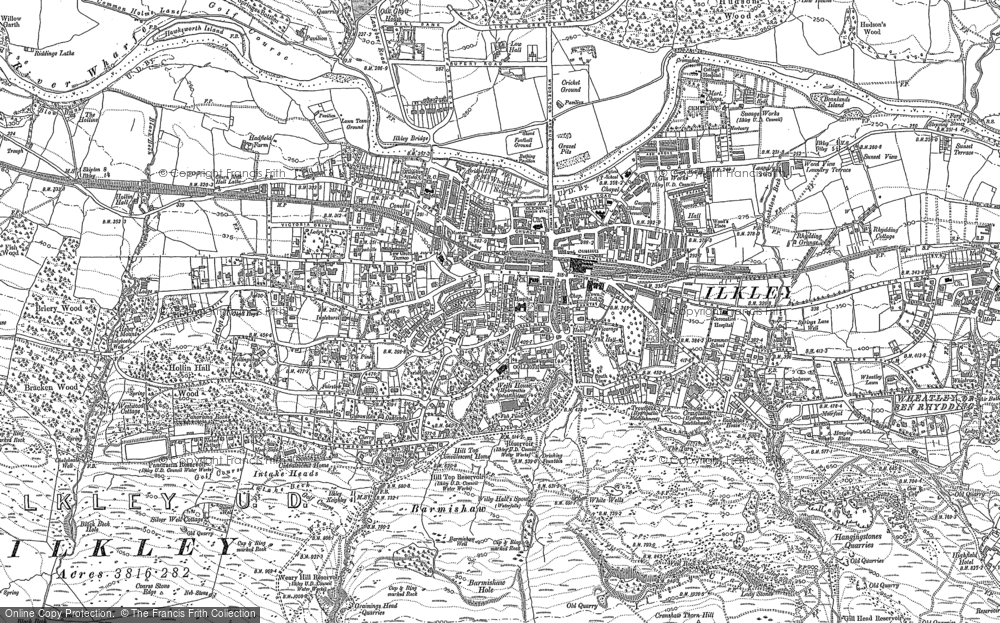 Old Map of Historic Map covering White Wells in 1907