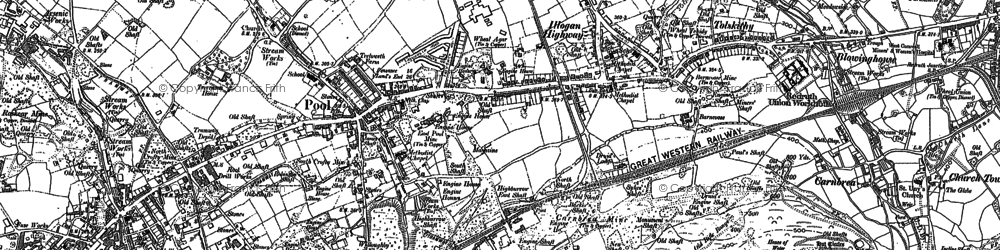 Old map of Illogan Highway in 1878