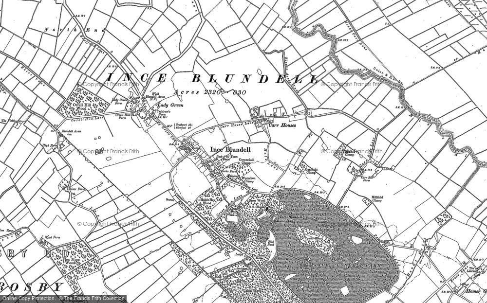 Old Map of Historic Map covering Baines Bridge in 1892