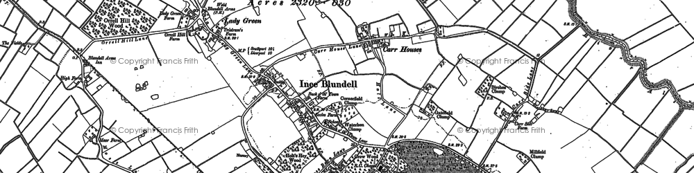 Old map of Baines Bridge in 1892